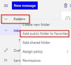 Folders, add a public folder to Favorites