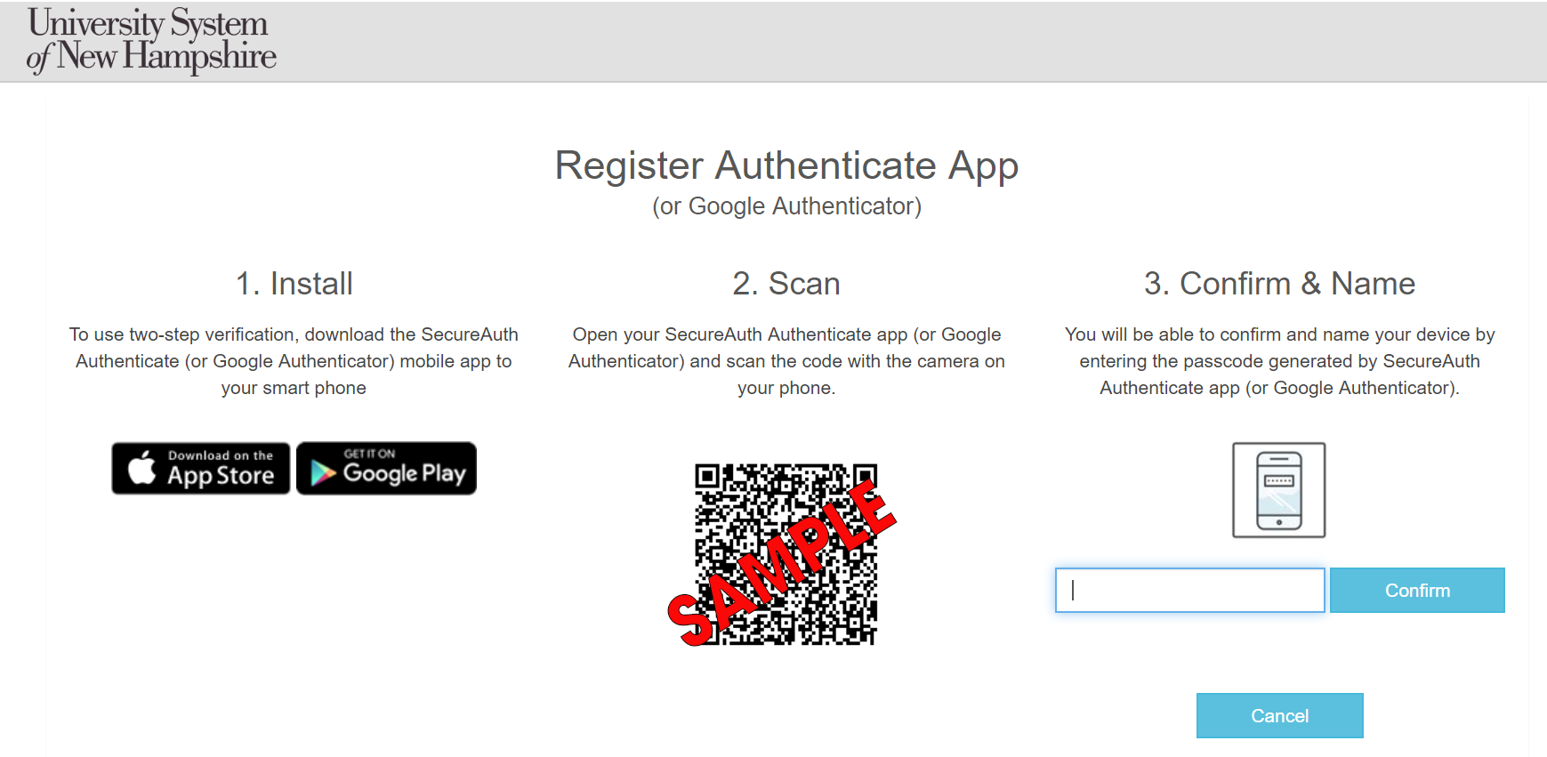 SmartAuth Authenticate page