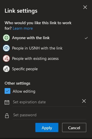 OneDrive share link window