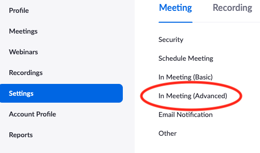 Screenshot of Settings and then In Meeting (Advanced) in Zoom