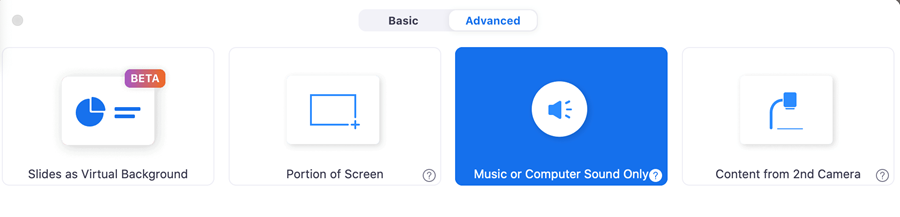 Advanced settings in Screen sharing in Zoom