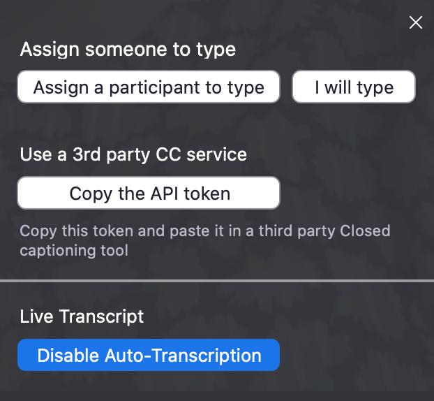 Diable Auto-Transcription Button in Zoom