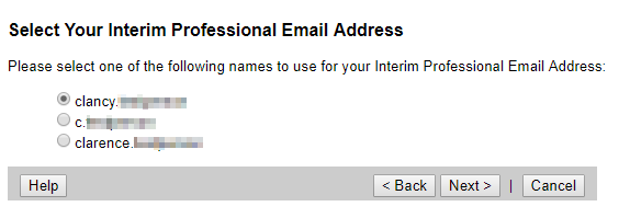 Select your Interim Professional Email Address