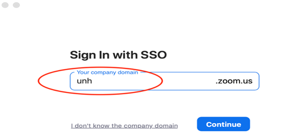 Zoom company domain text box. unh is type into the text field