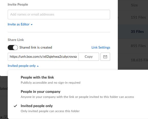 Box share link options