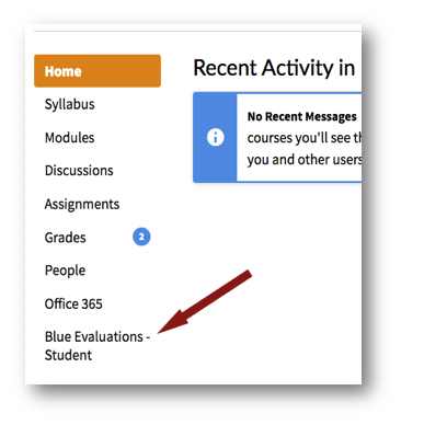 image of blue student link in mycourses
