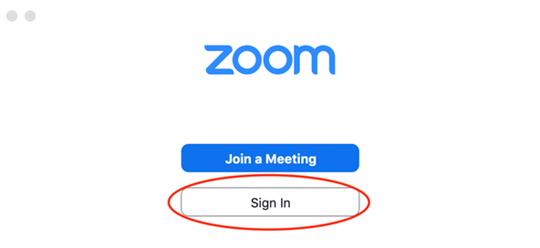 Zoom Join or Sign in Screen. Sign in is Circled in Red