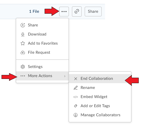 End collaboration with the More Options button in Box