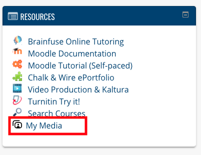 Resources tab in Moodle at GSC