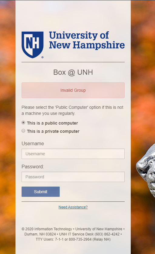 Invalid Group error on https://mylogin.unh.edu when logging into Box @ UNH