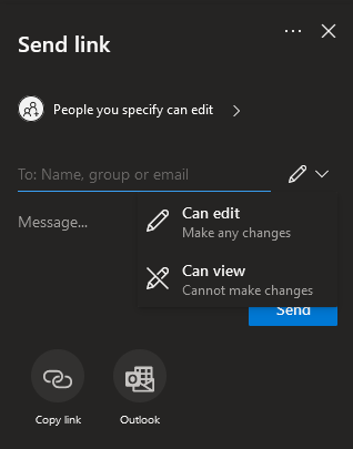 OneDrive invite specific people window