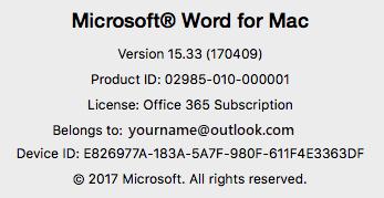 Microsoft Office Info Mac