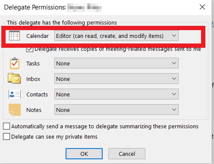 Delegate Editable Access Select Permission