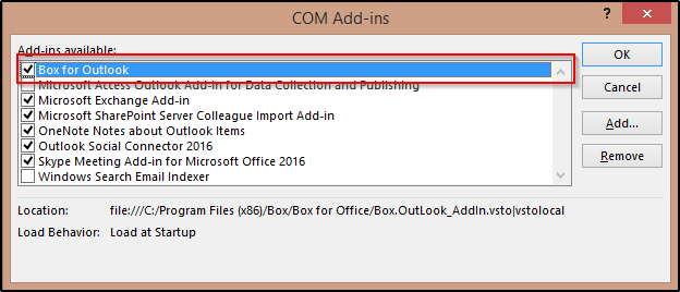 screen shot of enable box for office
