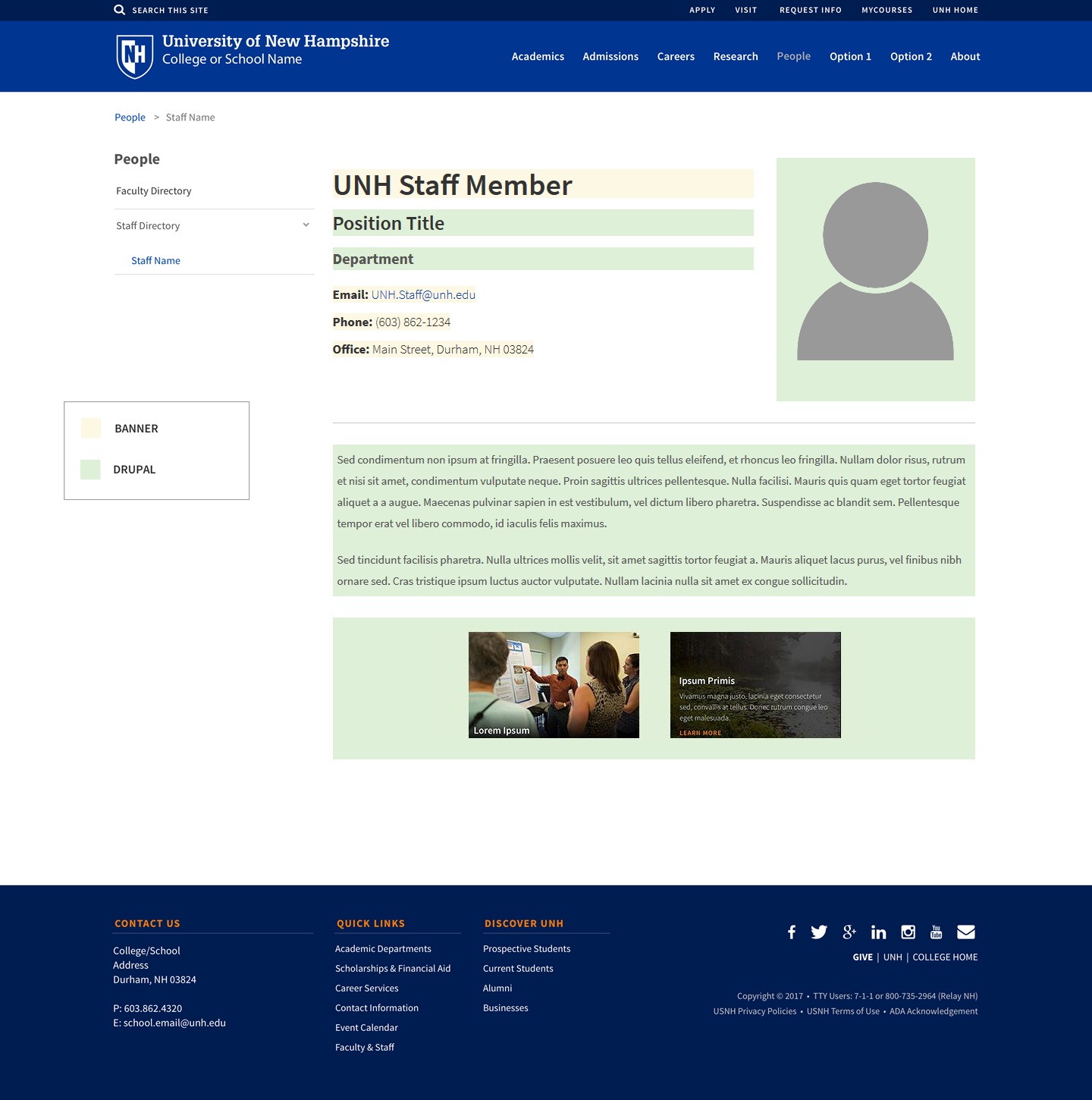 Snapshot of example staff profile page