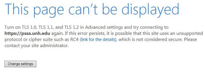 Internet Explorer Error box - This page can't be displayed.  Turn on TLS 1.0, TLS 1.1, and TLS 1.2 in Advanced settings and try connecting again.
