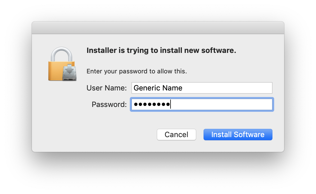 Installation permission window