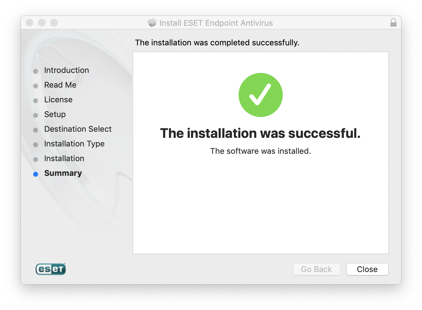 Successful installation window