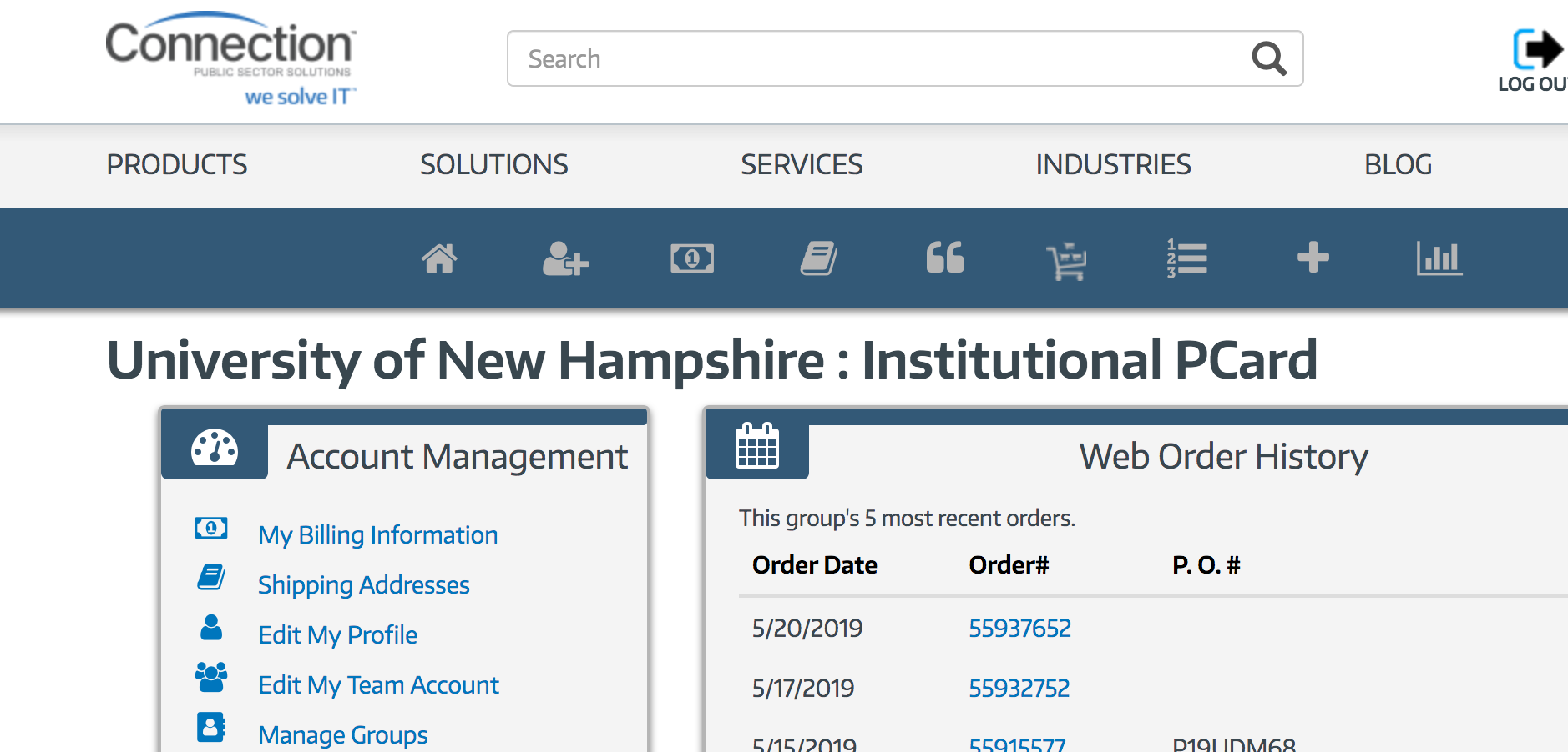 "Screen shot from GovConnection showing ""Institutional PCard"""