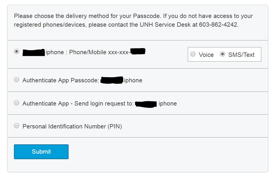 Prompt for Passcode Delivery Method