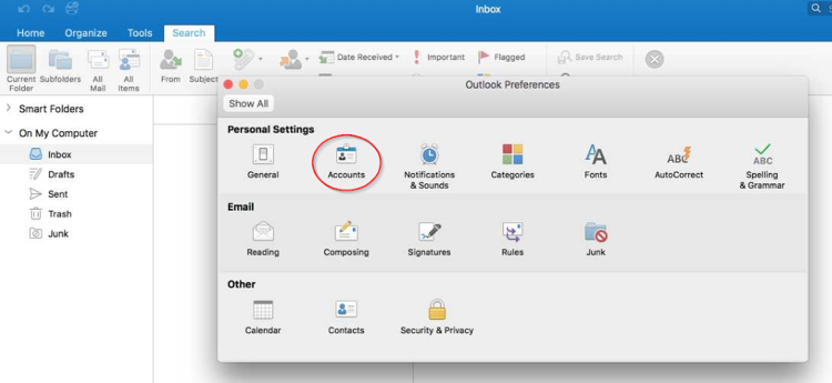 Accounts Outlook Desktop App Mac