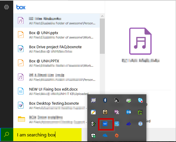 Image of Search using Box Drives Search features - image shows app location in task bar and where to enter search criteria