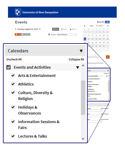 Snippet of calendar page showing topical calendars, magnified
