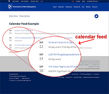 Example of calendar feed, magnified