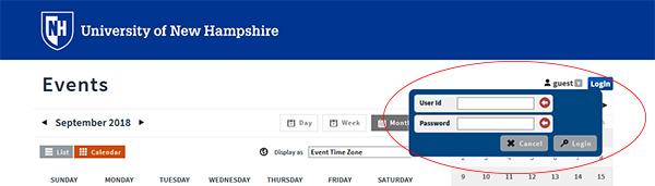 Screenshot of calendar login