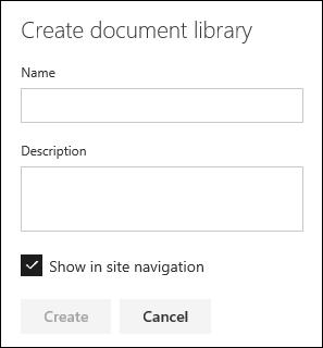 Create Document Library Pane