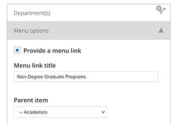Drupal menu config example