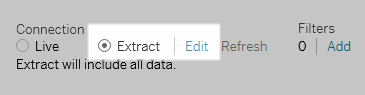 Extract option found in the upper right corner of the Data Source Page