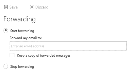 Outlook on the Web Forwarding Example