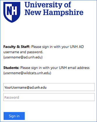UNH account sign in page