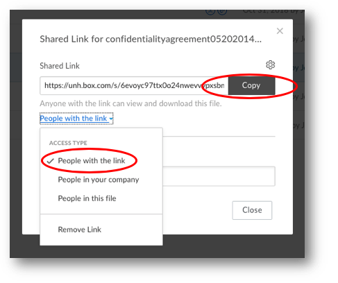 image of box shared link properties