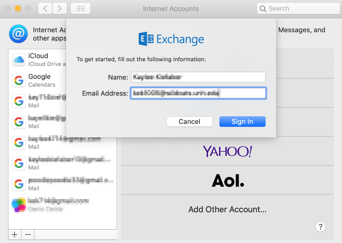 Log into Exchange on Mac Mail