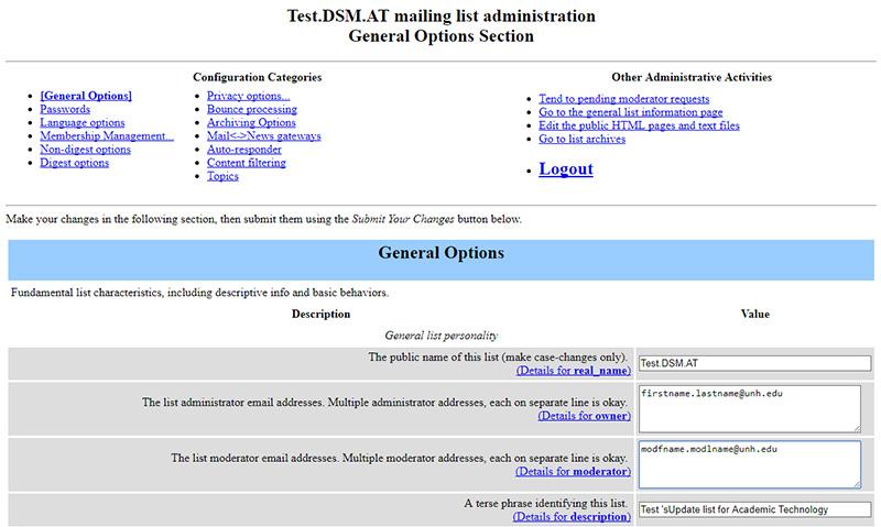 Image of Mailman admin interface