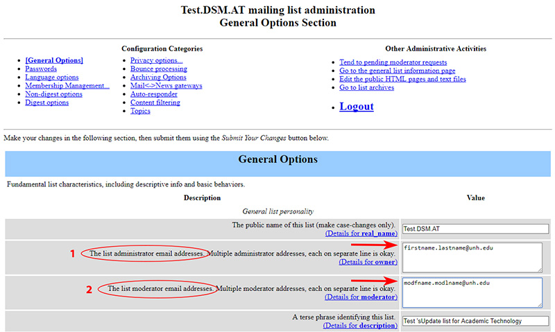 Mialman admin page with fields highlighted.