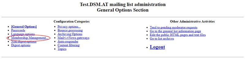 Mailman admin menu