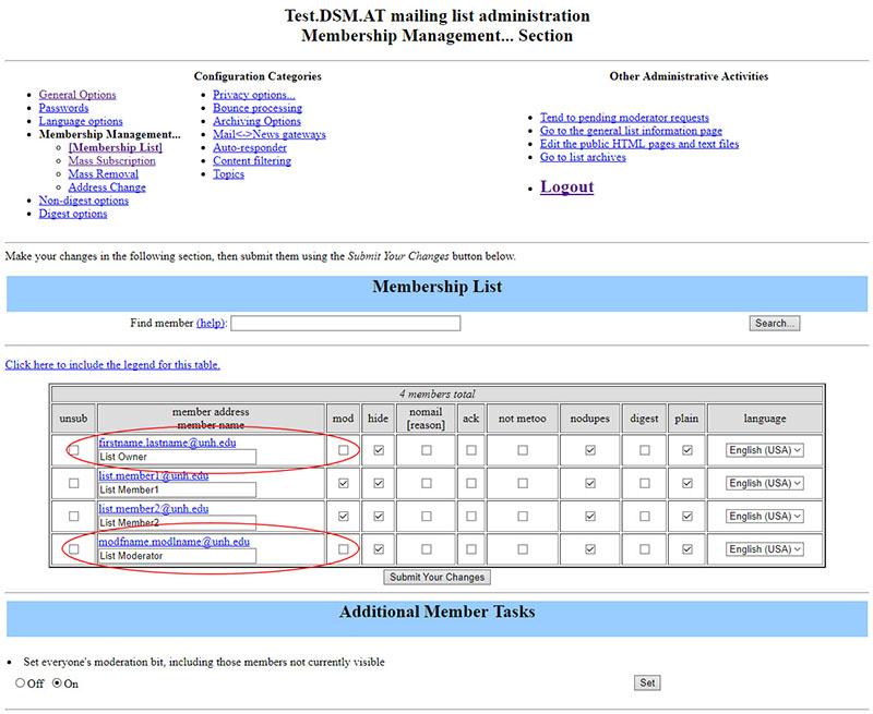 Mailman membership list example