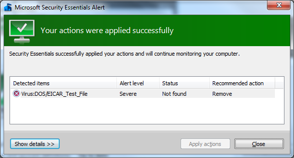 MSE application displaying list of detected items