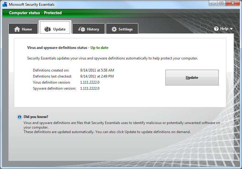 MSE application displaying update tab