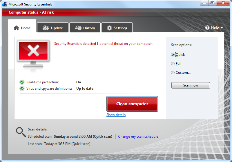 MSE application displaying home tab after a threat is detected