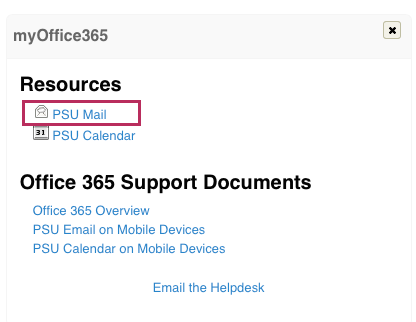 Access PSU Office 365 Email