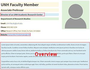 Snapshot of top section of faculty profile page