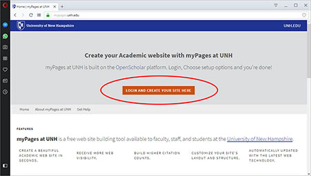 myPages home with login button highlighted