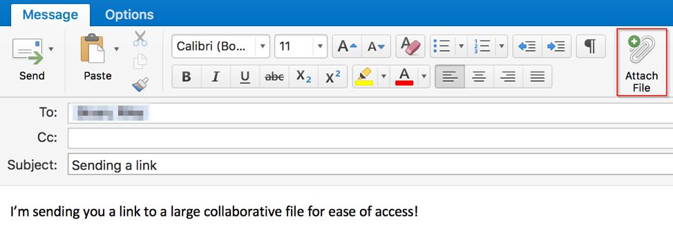 Outlook Mac Sending a Link