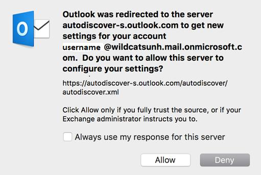 Outlook Server Pop up