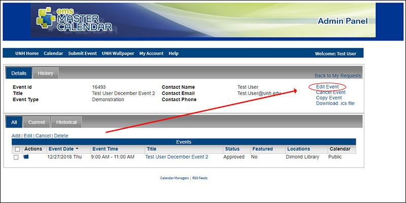 Screenshot of events calendar event detail pane