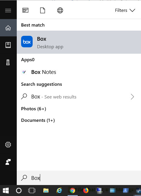 Screenshot of search menu, Windows 10, type Box then click Box Icon to re-engage application